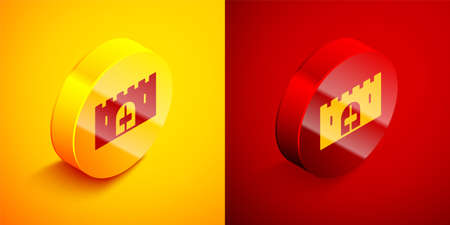 Isometric Medieval castle gate in a stone wall icon isolated on orange and red background. Medieval fortress. Protection from enemies. Circle button. Vector
