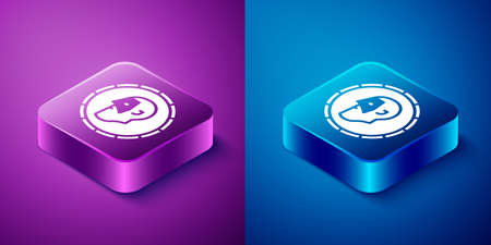 Isometric Ancient coin icon isolated on blue and purple background. Square button. Vector Vettoriali