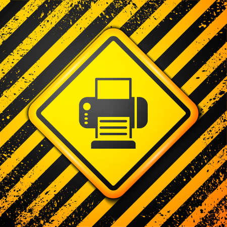 Black Printer icon isolated on yellow background. Warning sign. Vector