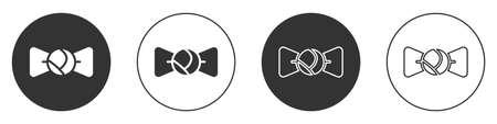 Black Bow tie icon isolated on white background. Circle button. Vector Illusztráció