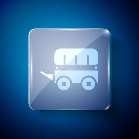White Wild west covered wagon icon isolated on blue background. Square glass panels. Vector Stock Illustratie