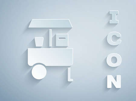 Paper cut Fast street food cart icon isolated on grey background. Urban kiosk. Paper art style. Vector