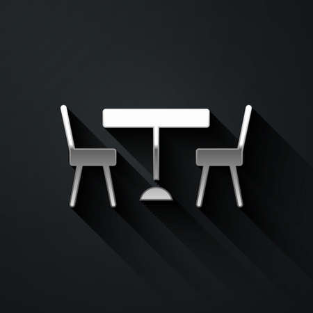 Silver Picnic table with chairs on either side of the table icon isolated on black background. Long shadow style. Vector