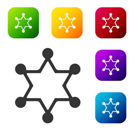 Black Hexagram sheriff icon isolated on white background. Police badge icon. Set icons in color square buttons. Vector