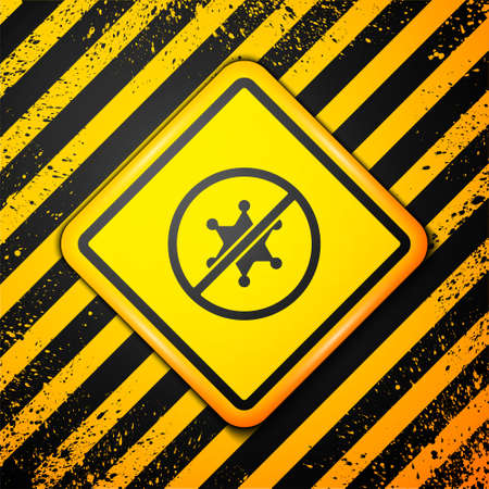 Black Protest icon isolated on yellow background. Meeting, protester, picket, speech, banner, protest placard, petition, leader, leaflet. Warning sign. Vector Ilustración de vector