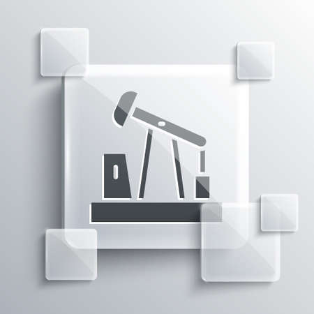 Grey Oil pump or pump jack icon isolated on grey background. Oil rig. Square glass panels. Vector Stock Illustratie