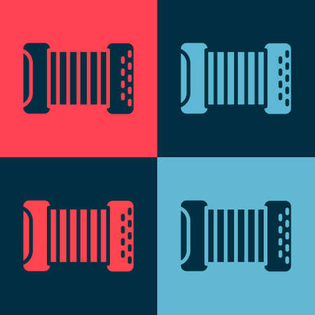 Pop art Musical instrument accordion icon isolated on color background. Classical bayan, harmonic. Vector Illusztráció