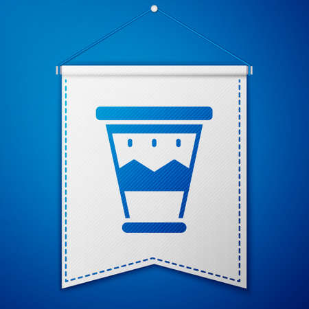 Blue Mexican drum icon isolated on blue background. Music sign. Musical instrument symbol. White pennant template. Vector