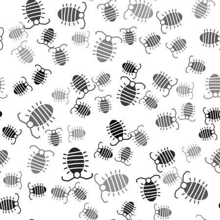 Black Larva insect icon isolated seamless pattern on white background. Vector