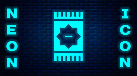 Glowing neon Mexican carpet icon isolated on brick wall background. Vector Ilustração