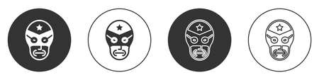Black Mexican wrestler icon isolated on white background. Circle button. Vector Ilustração