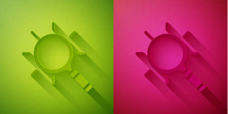 Paper cut Magnifying glass icon isolated on green and pink background. Search, focus, zoom, business symbol. Paper art style. Vector