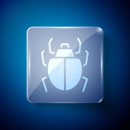 White Mite icon isolated on blue background. Square glass panels. Vector