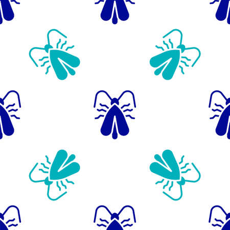 Blue Clothes moth icon isolated seamless pattern on white background. Vector
