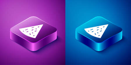 Isometric Nachos icon isolated on blue and purple background. Tortilla chips or nachos tortillas. Traditional mexican fast food. Square button. Vector Ilustração