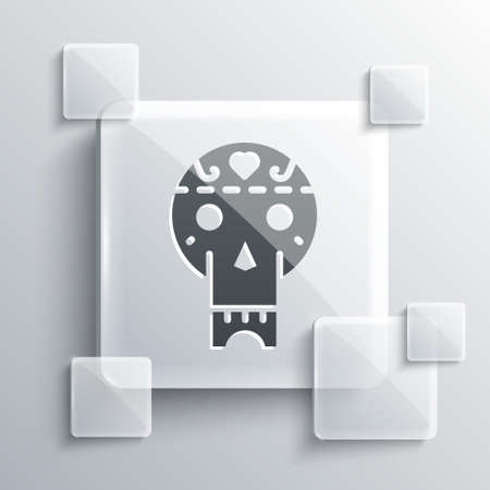 Grey Mexican skull icon isolated on grey background. Square glass panels. Vector