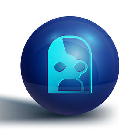 Blue Mexican wrestler icon isolated on white background. Blue circle button. Vector