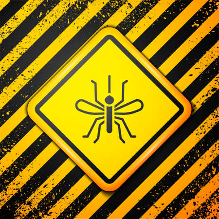 Black Mosquito icon isolated on yellow background. Warning sign. Vector Ilustração
