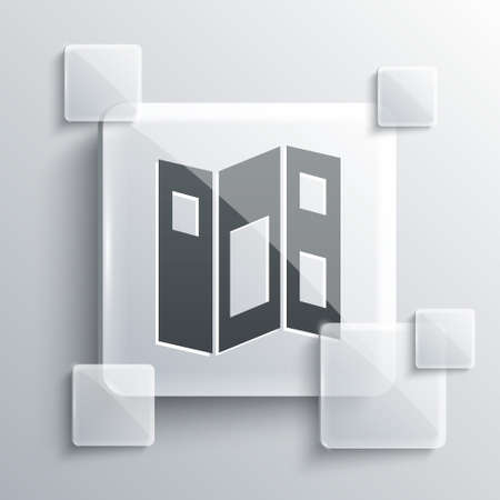 Grey Museum guide brochure icon isolated on grey background. Exhibition guidebook. Flyer, booklet, leaflet print. Square glass panels. Vector Ilustração