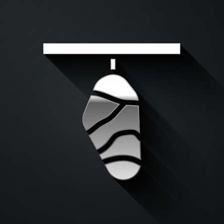 Silver Butterfly cocoon icon isolated on black background. Pupa of the butterfly. Long shadow style. Vector