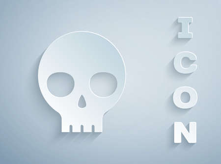 Paper cut Human skull icon isolated on grey background. Paper art style. Vector 向量圖像