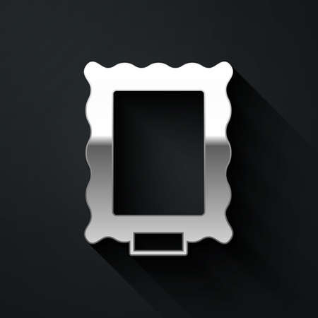 Silver Picture icon isolated on black background. Long shadow style. Vector Vectores