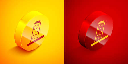 Isometric Leaning Tower in Pisa icon isolated on orange and red background. Italy symbol. Circle button. Vector