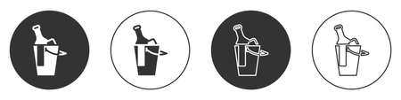 Black Bottle of wine in an ice bucket icon isolated on white background. Circle button. Vector