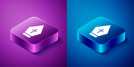 Isometric Pope hat icon isolated on blue and purple background. Christian hat sign. Square button. Vector Ilustração