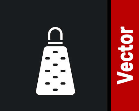 White Grater icon isolated on black background. Kitchen symbol. Cooking utensil. Cutlery sign. Vector