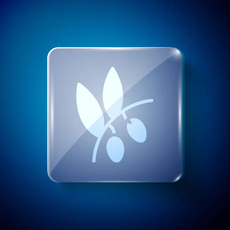 White Olives branch icon isolated on blue background. Square glass panels. Vector Ilustração