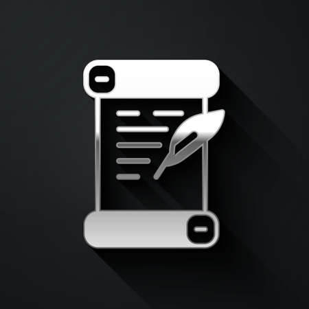 Silver Decree, paper, parchment, scroll icon icon isolated on black background. Long shadow style. Vector Ilustração