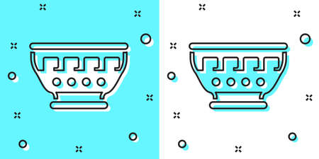 Black line Greek ancient bowl icon isolated on green and white background. Antique amphora with patterns collection. Ancient Greece bowl. Random dynamic shapes. Vector