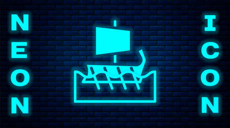 Glowing neon Ancient Greek trireme icon isolated on brick wall background. Vector