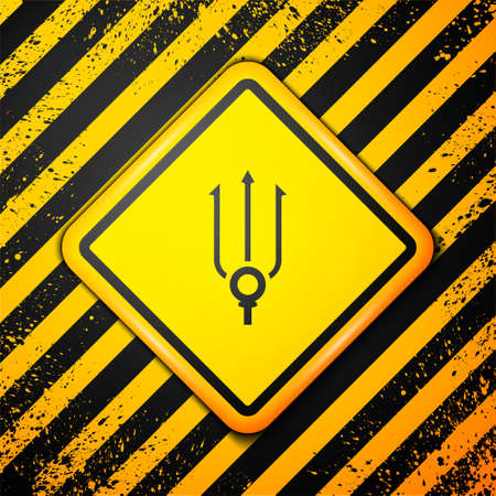 Black Neptune Trident icon isolated on yellow background. Warning sign. Vector
