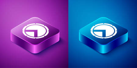Isometric Greek shield with greek ornament icon isolated on blue and purple background. Square button. Vector Ilustração