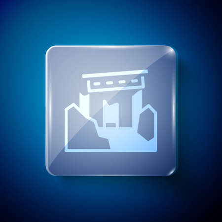 White Ancient ruins icon isolated on blue background. Square glass panels. Vector