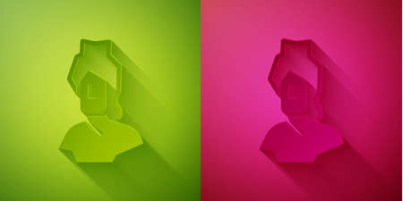 Paper cut Ancient bust sculpture icon isolated on green and pink background. Paper art style. Vector