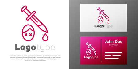 Logotype line Sword with blood icon isolated on white background. Medieval weapons knight and soldier. Symbol of murder.