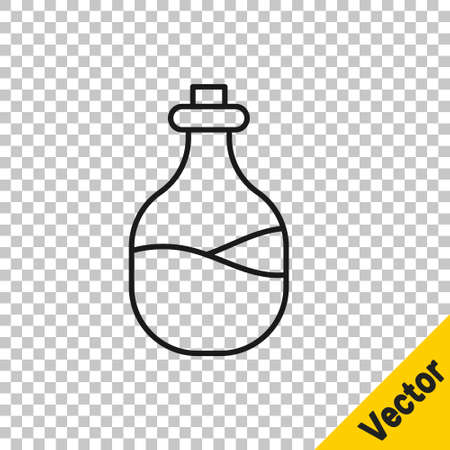 Black line Old bottle of wine icon isolated on transparent background. Vector