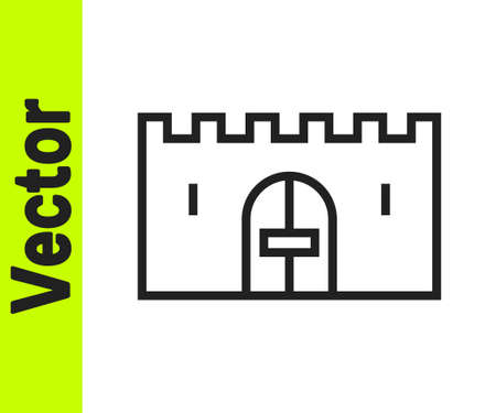 Black line Medieval castle gate in a stone wall icon isolated on white background. Medieval fortress. Protection from enemies. Vector