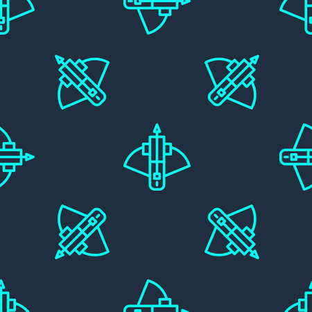 Green line Battle crossbow with arrow icon isolated seamless pattern on blue background. Vector