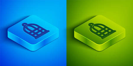 Isometric line Cage for birds icon isolated on blue and green background. Square button. Vector