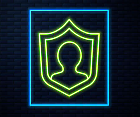 Glowing neon line User protection icon isolated on brick wall background. Secure user login, password protected, personal data protection, authentication. Vector