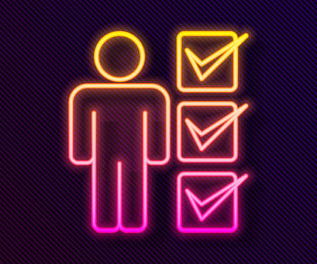 Glowing neon line User of man in business suit icon isolated on black background. Business avatar symbol user profile icon. Male user sign. Vector