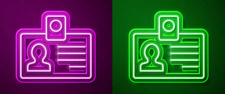 Glowing neon line Identification badge icon isolated on purple and green background. It can be used for presentation, identity of the company, advertising. Vector