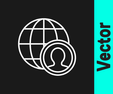 White line Globe and people icon isolated on black background. Global business symbol. Social network icon. Vector