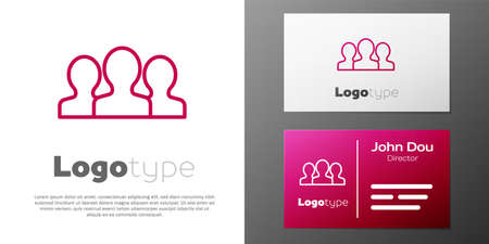 Logotype line Users group icon isolated on white background. Group of people icon. Business avatar symbol - users profile icon. Ilustração