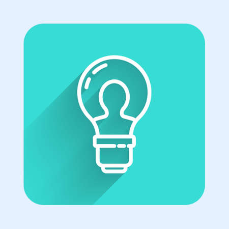 White line Human head with lamp bulb icon isolated with long shadow. Green square button. Vector