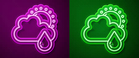 Glowing neon line Cloud with rain and sun icon isolated on purple and green background. Rain cloud precipitation with rain drops. Vector